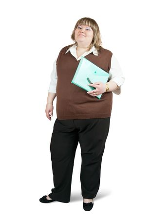Isolated full length studio shot of a casual  businesswoman with documents Stock Photo - 6677827