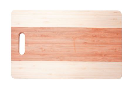 Wooden cutting board, isolated on white background  photo