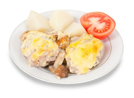 tomatto: stewed chicken with mushrooms and cheese on plate