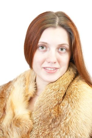 furskin: Portrait of long-haired girl with fox fur. Isolated on white