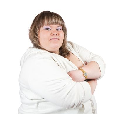 tubby: portrait of  big girl. Isolated over white