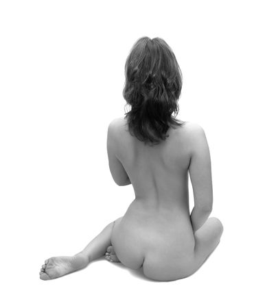 naked feet: Vista posteriore della ragazza nuda. Isolated on white background