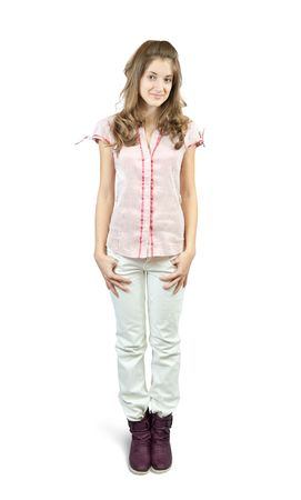 Photo of a casual teen standing confidently over white photo