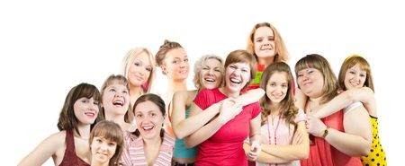 Group of  female students together over white Stock Photo - 6702367
