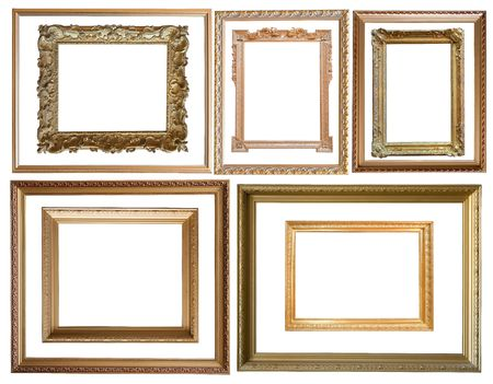 Set of  10 gold picture frames photo