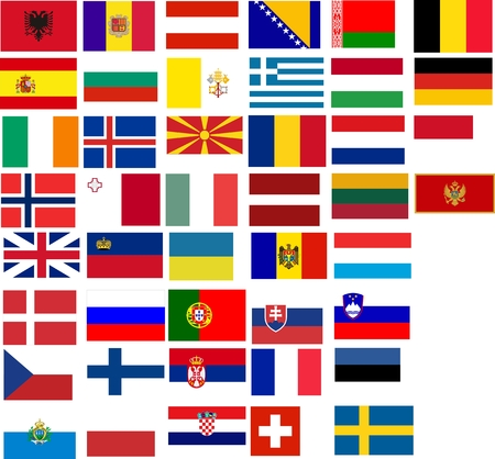 Flags of all European country. Illustration over white background Stock Vector - 6736196