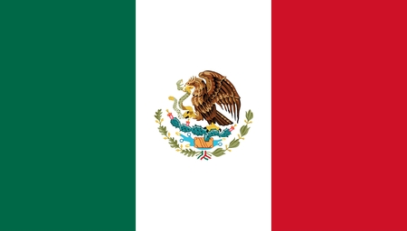 mexico: Flag of Mexico. Illustration over white background