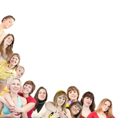 Group of  girls  border on white background  Stock Photo - 6723934