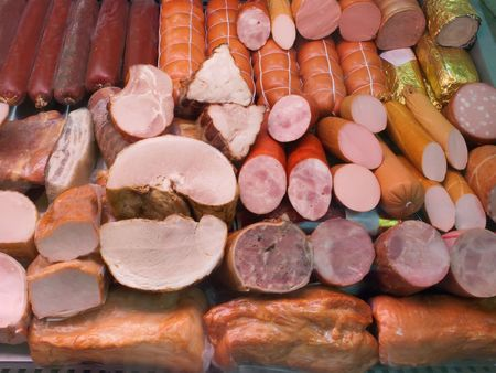 shopwindow: Close up of the  sausage on shopwindow