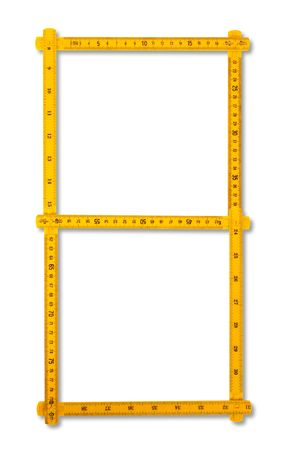 plactic:  Carpenter rule looking like number eight.  Isolated over white background