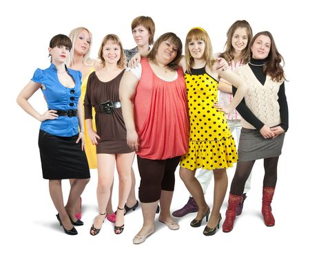 group of women: Isolated full length view of group of girls