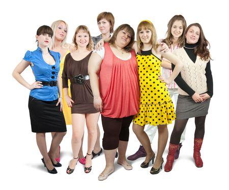 white women: Isolated full length view of group of girls