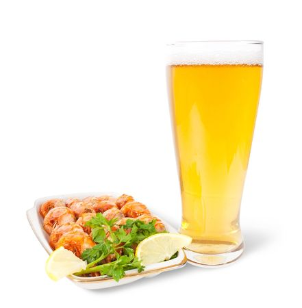 fried shrimps and beer on white background  photo