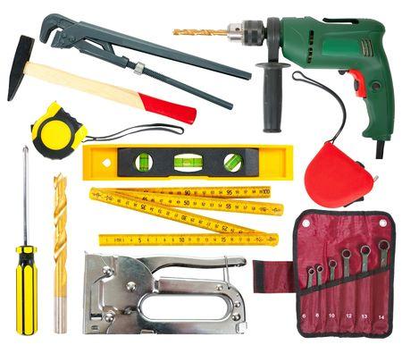 electric tools: Set of different work tools.