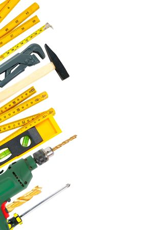 screwdriwer:  border of working tools over white background