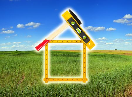 house concept build with tools over summer landscape Stock Photo - 6784189
