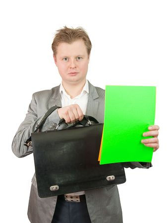 Businessman with green paper, isolated on white Stock Photo - 6784179