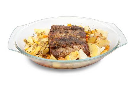 microwave oven: filete con patatas en placas de vidrio a la parrilla, horno de microondas