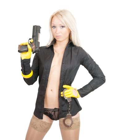 Topless woman with pistol and manacles over white Stock Photo - 6784391