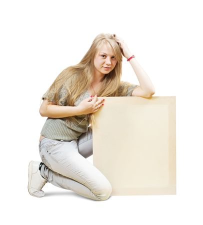Sitting blonde girl with empty poster over white photo