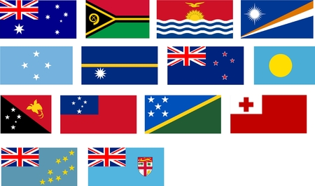 bacia: Flags of all Pacific basin countries and Australia countries. Illustration over white background