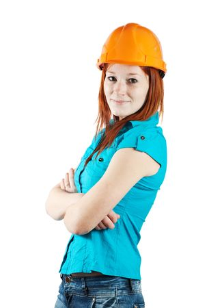 tasker: businesswoman in hard hat on white background
