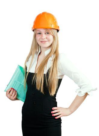 Administrador de construcción femenina. Aislados sobre blanco