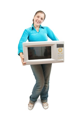 mini oven: Girl in blue with mini oven. Isolated over white Stock Photo