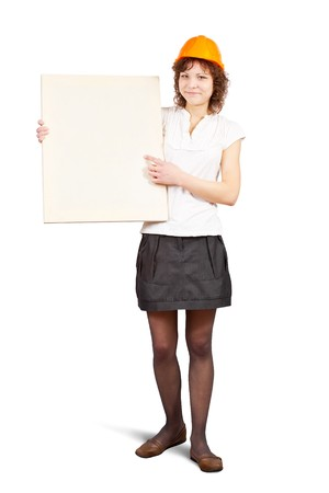 tasker: businesswoman holds blank canvas. It is isolated on a white background