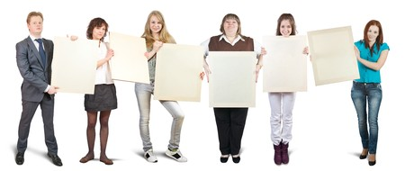successful businessteam holds blank canvases. It is isolated on a white background  photo
