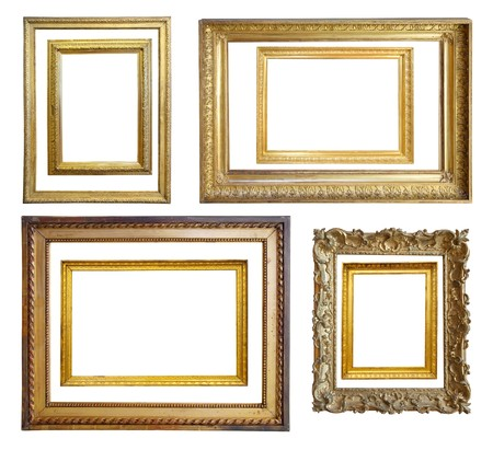 Set of  Vintage gold picture frame, isolated photo