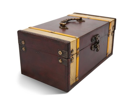 Wooden treasure chest against a white background Stock Photo - 6863035
