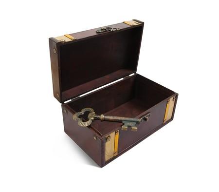 key box: empty Treasure chest with vintage key, isolated