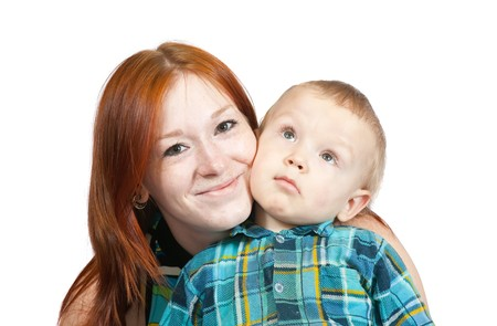 Happy mother with her son. Isolated over white Stock Photo - 6935741