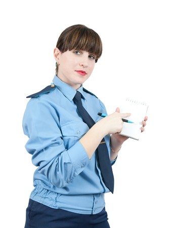 woman in uniform is point at blank over white Stock Photo - 6935662