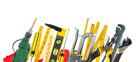 set of working tools over white background  Stock Photo - 6935602