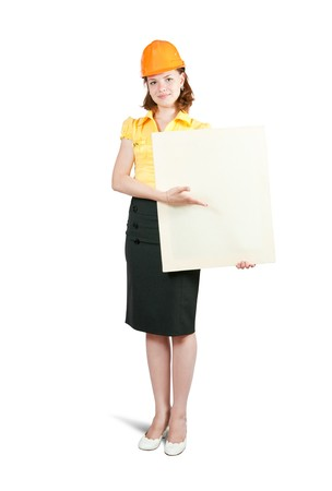 businesswoman in hardhat holding banner, isolated on white  photo