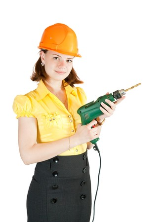 beauty girl with drill over white background Stock Photo - 6951403