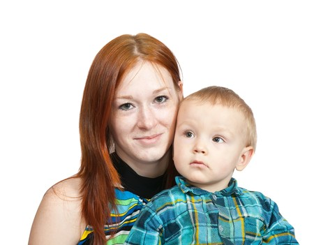 Happy mother with her son. Isolated over white Stock Photo - 6951448