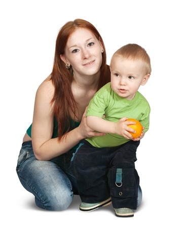 sitting happy mother with her son . Isolated over white photo