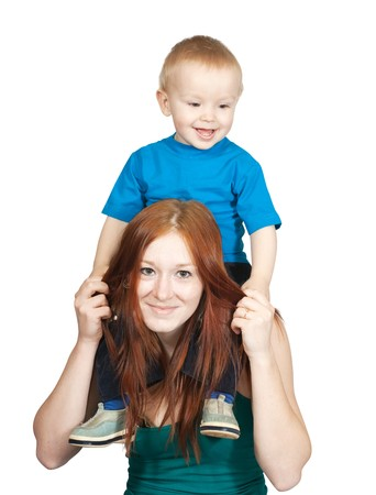 Happy mother with her son. Isolated over white Stock Photo - 6986526