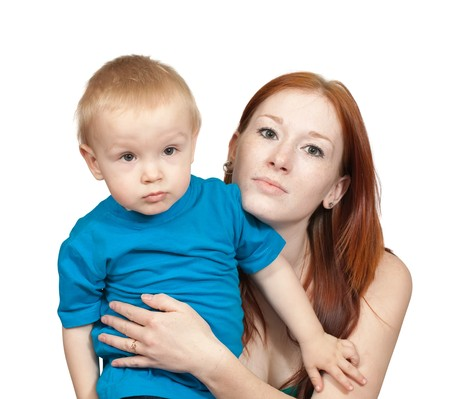 mother with her son. Isolated over white background Stock Photo - 6986525