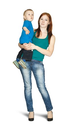 mother with her son. Isolated over white background photo