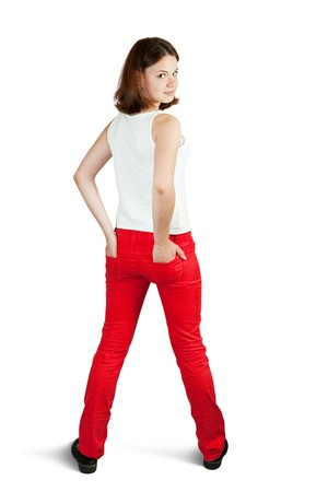 Rear view of  girl in red jeans.