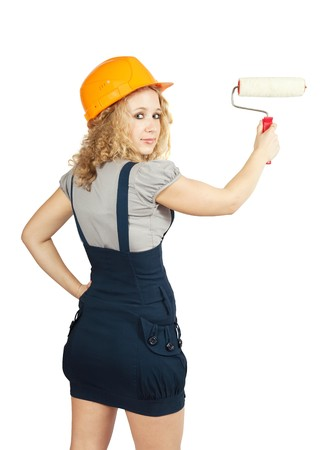 housepainter: female house painters with paint rollers. Isolated over white background