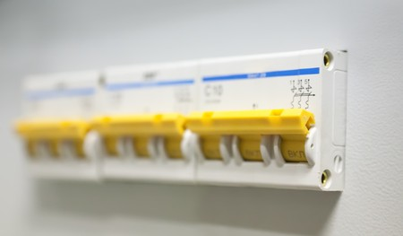 removed: Circuit-breakers power control panel. All logos removed Stock Photo