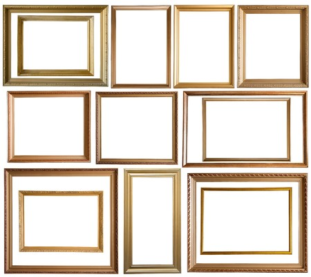 antique frame: Set of 14 gold picture frames, isolated  Stock Photo