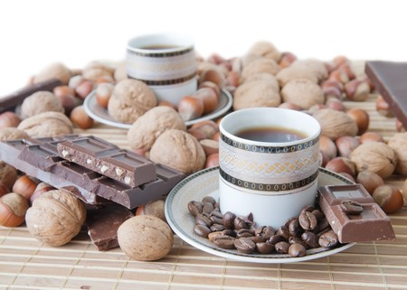 nit: cup of coffee with nuts and chocolate