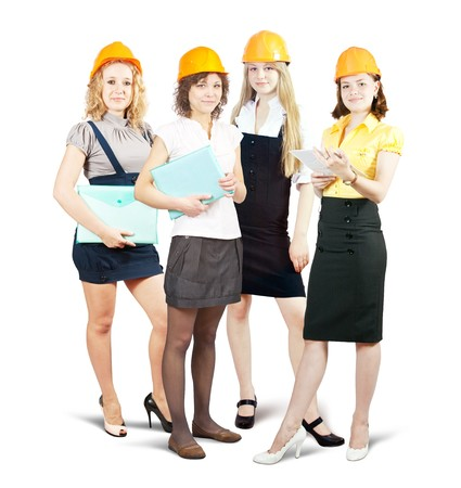 tasker: businesswomen in hard hat with documents  on white background
