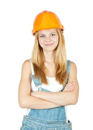 female construction worker in hard hat. Isolated against white background. photo